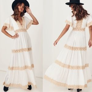 Spell & The Gypsy Ocean Gown Ivory Maxi Dress